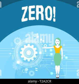 Writing note showing Zero. Business concept for The emptiness nothingness of something no value Woman Presenting the SEO Process with Cog Wheel Gear i - Stock Photo