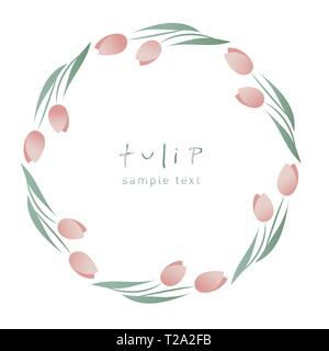 Wreath of tulip flowers and leaves forming a decorative circular frame on white background - Stock Photo