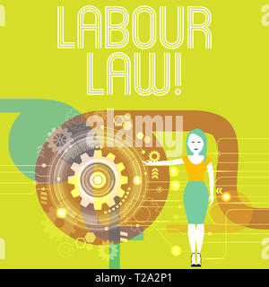 Handwriting text writing Labour Law. Conceptual photo rules relating to rights and responsibilities of workers Woman Standing and Presenting the SEO P - Stock Photo