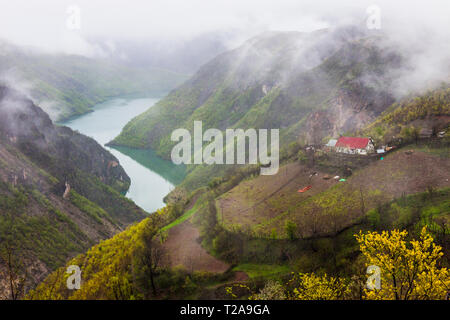 Lake Koman, Shkodër County, Albania : High angle view of farms and cottages perching on the slopes of the gorge over the Koman lake reservoir on the D - Stock Photo