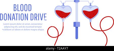 Medical and healthcare concept. Donate blood bag. Blood donation drive banner. - Stock Photo