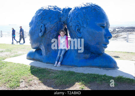 Morphous by artist Lionel Smit along the Mouille Point promenade - Stock Photo