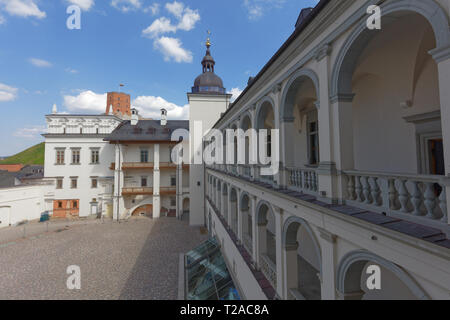 Vilnius, Lithuania - May 6, 2017: Palace of the Grand Dukes of Lithuania with Gediminas tower visible on the background. Now the palace hosts the Nati - Stock Photo