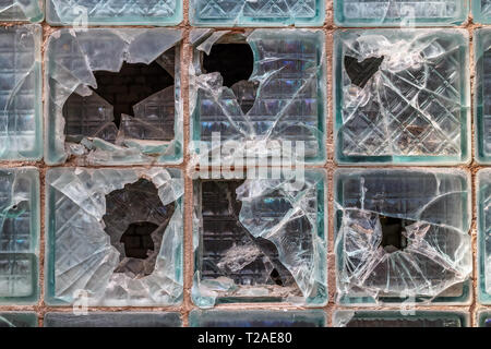 Texture background of old broken glass blocks for mockup or design pattern in construction, food or industrial flat layer of sample concept. - Stock Photo