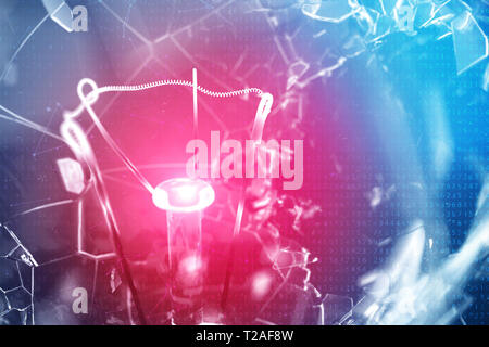 3D Illustration Exploding light bulb on a blue background, with concept creative thinking and innovative solutions. Red glow in the center concept vir