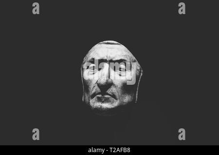 Florence, Italy - June 24, 2018: Closeup view of death mask of Dante Alighieri in Palazzo Vecchio - Stock Photo