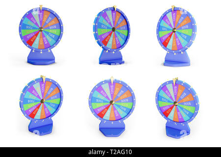 3d illustration colorful wheel of luck or fortune. Set roulette fortune spinning wheels, casino wheel. Wheel fortune isolated on white background - Stock Photo