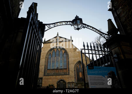 Edinburgh capital of Scotland entrance to Greyfriars Kirk church yard in the city - Stock Photo