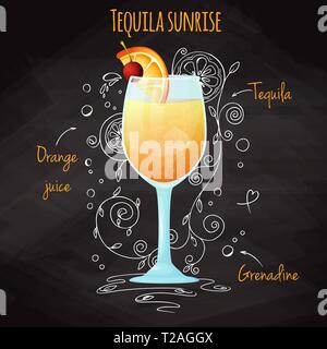 Simple recipe for an alcoholic cocktail Tequila Sunrise. Drawing chalk on a blackboard. Vector illustration - Stock Photo