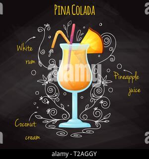 Simple recipe for an alcoholic cocktail Pina Colada. Drawing chalk on a blackboard. Vector illustration - Stock Photo