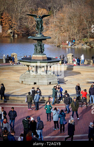 New York Manhattan Central Park Bethesda Terrace and Fountain overlook The Boating Lake - Stock Photo