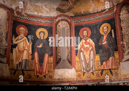 Romanesque art in the National Art Museum of Catalonia,Barcrelona,apse of the Burgal (late 11th century early twelfth century). - Stock Photo