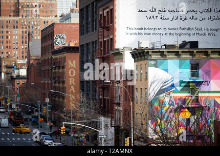 10th Avenue Chelsea Mother Teresa mural by Brazilian Street artist Kobra near High Line elevated linear park, New York Manhattan - Stock Photo