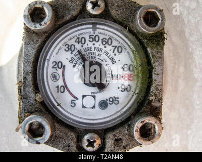 gas pressure meter on the cylinder - Stock Photo