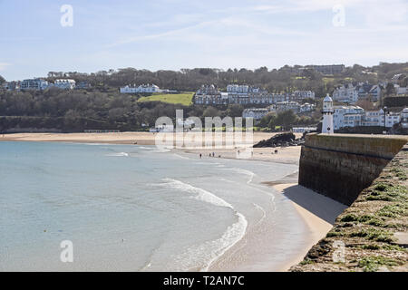 St Ives Cornwall, Porthminster beach from Seaton's Pier. - Stock Photo