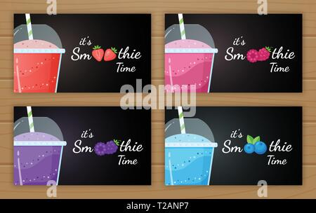Berry smoothie logo vitamin drink vector illustration. Set of smoothie logo, glass, filled with sweet tasty colorful smoothies drink cocktail for drink energy promo landing page. Clipping mask applied - Stock Photo