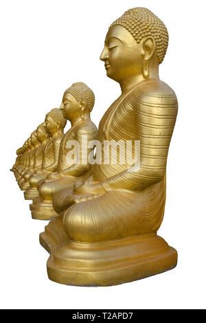 Row of golden Buddha statues, isolated on white background. Temple in Sri Lanka, Matara. Vertical photo. - Stock Photo