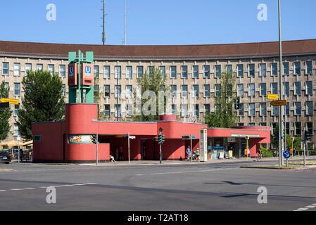 Berlin. Germany. Fehrbelliner Platz U-Bahn station entrance designed by Rainer Gerhard Rümmler (1929-2004), constructed 1967-1972, in the background i - Stock Photo