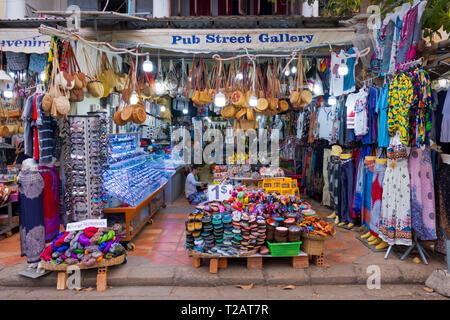 Shop, Pub Street, old town, Siem Reap, Cambodia, Asia - Stock Photo
