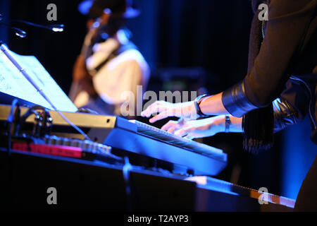 hands of musician playing keyboard in concert - Stock Photo