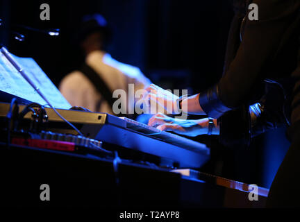 CRACOW, POLAND - MARCH 16, 2016: Famous American drummer Billy Cobham live on stage in ICE Cracow, Poland - Stock Photo