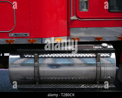 Fuel tank on the side of a vintage recovery and tow truck in London, England, UK. - Stock Photo