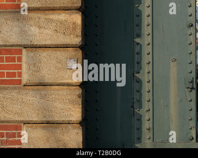 Detail of brick and steel construction on Hungerford Railway Bridge, England, UK . - Stock Photo