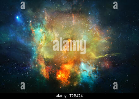 Colors in Space series. Design composed of colorful clouds and space elements as a metaphor on the subject of art, creativity, imagination, science an - Stock Photo