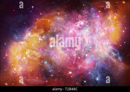 Abstract beautiful multicolored galaxy artwork in outer space showing the beauty of space exploration. - Stock Photo