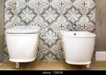 toilet and detail of a corner shower bidet with wall mount shower attachment - Stock Photo