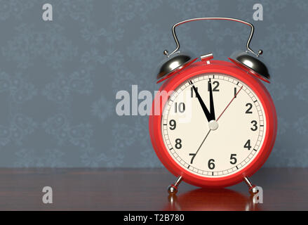 Alarm clock on bedside table. 3D rendering - Stock Photo
