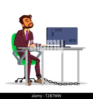 Indian Chained Businessman Working On Laptop At Table Vector Flat Cartoon Illustration - Stock Photo
