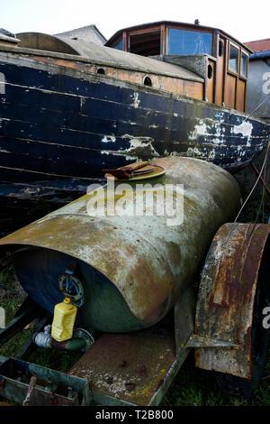 Wrecks, Saint-Valery, Bay of Somme, Somme, Haut-de-France, France - Stock Photo