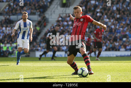 Southampton's James Ward-Prowse during the English Premier League match between Brighton Hove Albion and Southampton at the Amex Stadium in Brighton. 30 March  2019 Photo James Boardman / Telephoto Image EDITORIAL USE ONLY. No use with unauthorized audio, video, data, fixture lists, club/league logos or 'live' services. Online in-match use limited to 120 images, no video emulation. No use in betting, games or single club/league/player publications. - Stock Photo