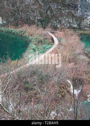 Wooden bridge way in national park Plitvice lakes in Croatia