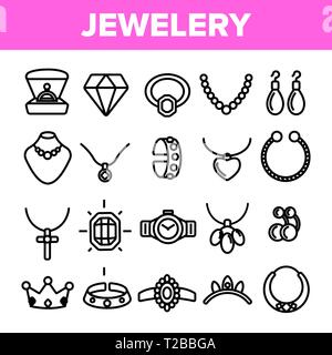 Jewelery Line Icon Set Vector. Diamond Luxury Jewelery Symbol. Gem Elegance Sign. Thin Outline Web Illustration - Stock Photo