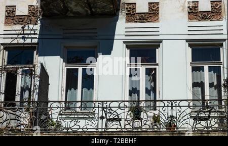 Facade of Tbilisi's houses of 18-19 centuries in Art Nouveau, Republic of Georgia - Stock Photo