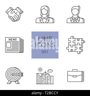 Business Icons Vector Set. Business Related Vector Line Icons Set. Isolated on White Background. Editable Stroke. - Stock Photo