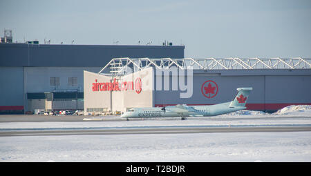 Montreal, Canada- January 20, 2019: Airplane of Air Canada above the Trudeau airport in Canada. - Stock Photo