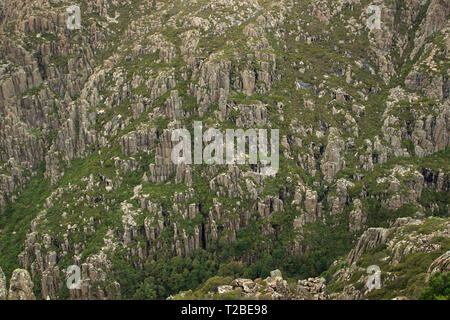 Escarpment face seen from the lookout at the top of Jacobs Ladder at Ben Lomond National Park in northern Tasmania, Australia. - Stock Photo