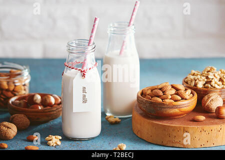 Vegan substitute dairy milk. Glass bottles with non-dairy milk and ingredients. - Stock Photo