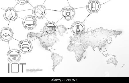 White space planet Earth internet of things icon innovation technology concept. Wireless communication network IOT ICT. Intelligent system automation - Stock Photo
