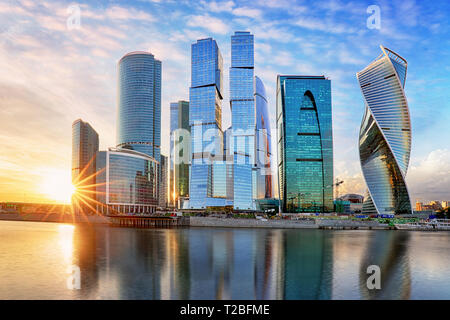 Modern skyscrapers business center Moscow - City in Russia - Stock Photo
