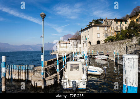 Porto di Siviano port, Monte Isola, Lake Iseo, Lombardy, Italy - Stock Photo