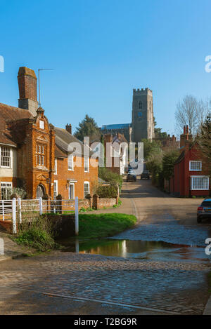 Kersey village, view of The Street in the centre of Kersey village, with its famous ford or 'splash' in the foreground, Suffolk, England, UK. - Stock Photo