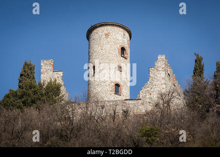 Rocca Martinengo castle on Monte Isola, Lake Iseo, Lombardy, Italy - Stock Photo
