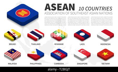 ASEAN flag and membership and southeast asia map background . Isometric top design . Vector . - Stock Photo