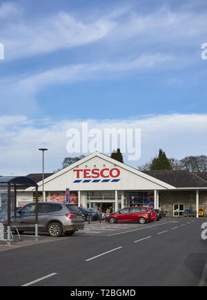 The Entrance to the Tesco Supermarket in Forfar, Angus, Scotland. March 2019. - Stock Photo