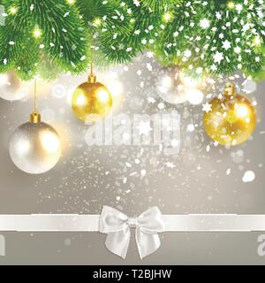 christmas congratulatory background with christmas balls and snowflakes - Stock Photo