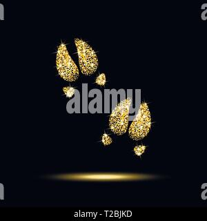 pig trails of gold sequins on a black background - Stock Photo